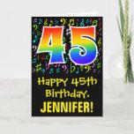 [ Thumbnail: 45th Birthday: Colorful Music Symbols + Rainbow 45 Card ]