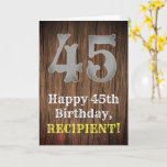 [ Thumbnail: 45th Birthday: Country Western Inspired Look, Name Card ]