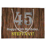 [ Thumbnail: 45th Birthday: Country Western Inspired Look, Name Gift Bag ]