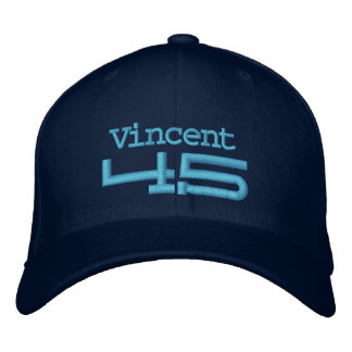 45th Birthday Custom Name BLUE Embroidery A03 Embroidered Baseball Caps
