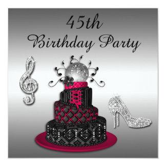 45th Birthday Disco Diva Cake and Sparkle Heels Invitation