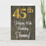 [ Thumbnail: 45th Birthday: Elegant Faux Gold Look #, Faux Wood Card ]