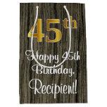 [ Thumbnail: 45th Birthday: Elegant Faux Gold Look #, Faux Wood Gift Bag ]