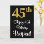 [ Thumbnail: 45th Birthday ~ Elegant Luxurious Faux Gold Look # Card ]