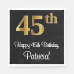 [ Thumbnail: 45th Birthday ~ Elegant Luxurious Faux Gold Look # Napkins ]
