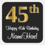 [ Thumbnail: 45th Birthday – Elegant Luxurious Faux Gold Look # Sticker ]
