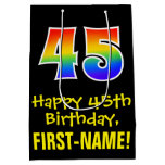 "[ Thumbnail: 45th Birthday: Fun, Bold, Colorful, Rainbow ""45"" Gift Bag ]"