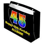 [ Thumbnail: 45th Birthday ~ Fun, Colorful, Vibrant, Rainbow 45 Gift Bag ]