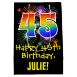 [ Thumbnail: 45th Birthday: Fun Fireworks Pattern + Rainbow 45 Gift Bag ]