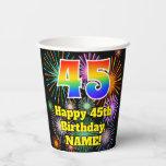 [ Thumbnail: 45th Birthday: Fun Fireworks Pattern + Rainbow 45 ]