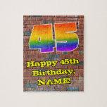 [ Thumbnail: 45th Birthday: Fun Graffiti-Inspired Rainbow 45 Jigsaw Puzzle ]