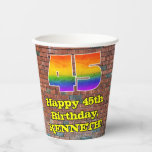 [ Thumbnail: 45th Birthday: Fun Graffiti-Inspired Rainbow 45 ]