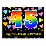 [ Thumbnail: 45th Birthday: Fun Hearts Pattern, Rainbow 45 Postcard ]