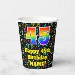 [ Thumbnail: 45th Birthday: Fun Music Notes Pattern, Rainbow 45 ]
