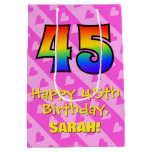 [ Thumbnail: 45th Birthday: Fun Pink Hearts Stripes; Rainbow 45 Gift Bag ]
