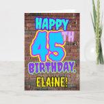 [ Thumbnail: 45th Birthday - Fun, Urban Graffiti Inspired Look Card ]