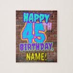 [ Thumbnail: 45th Birthday ~ Fun, Urban Graffiti Inspired Look Jigsaw Puzzle ]