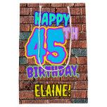 [ Thumbnail: 45th Birthday: Fun, Urban Graffiti Inspired Look Gift Bag ]