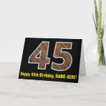 "[ Thumbnail: 45th Birthday: Name + Faux Wood Grain Pattern ""45"" Card ]"