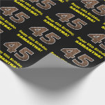 "[ Thumbnail: 45th Birthday: Name & Faux Wood Grain Pattern ""45"" Wrapping Paper ]"
