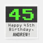 """[ Thumbnail: 45th Birthday - Nerdy / Geeky Style """"45"""" & Name Napkins ]"""