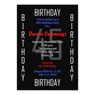 45th Birthday Party Invitation 45