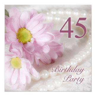 45th Birthday party invitation with daisies