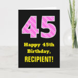 "[ Thumbnail: 45th Birthday: Pink Stripes and Hearts ""45"" + Name Card ]"