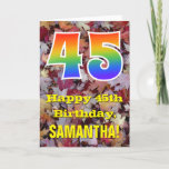 "[ Thumbnail: 45th Birthday; Rustic Autumn Leaves; Rainbow ""45"" Card ]"