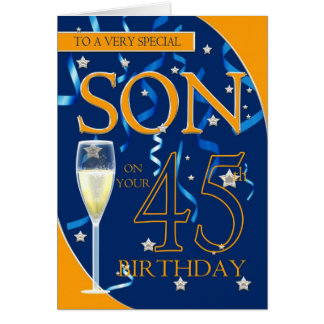 45th Birthday Son - Champagne Glass Card
