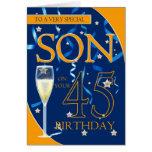 45th Birthday Son - Champagne Glass Greeting Card