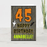 [ Thumbnail: 45th Birthday: Spooky Halloween Theme, Custom Name Card ]