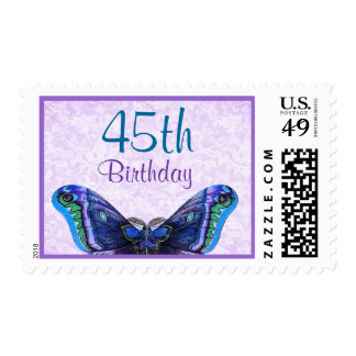45th Birthday Stamp with Purple Butterfly