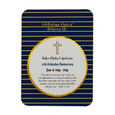 45th Ordination Anniversary Priest Sapphire Gold Magnet