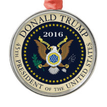 45th President of the United States Metal Ornament