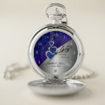 """45th Sapphire Wedding Anniversary Design 2 Pocket Watch<br><div class=""""desc"""">Pocket Watch. 45th or 65th Sapphire Wedding Anniversary Design. 100% Customizable. Ready to Fill in the box(es) or Click on the CUSTOMIZE button to add, move, delete, resize or change any of the font or graphics. Made with high resolution vector and/or digital graphics for a professional print. NOTE: (THIS IS...</div>"""