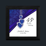 """45th Sapphire Wedding Anniversary Design Jewelry Box<br><div class=""""desc"""">45th or 65th Wedding Anniversary Design Gift Box ready for you to personalize. ⭐This Product is 100% Customizable. Graphics and / or text can be added, deleted, moved, resized, changed around, rotated, etc... 99% of my designs in my store are done in layers. This makes it easy for you to...</div>"""