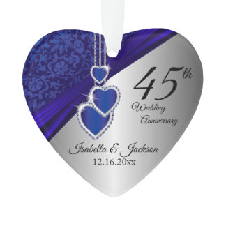 45th Sapphire Wedding Anniversary Keepsake Ornament