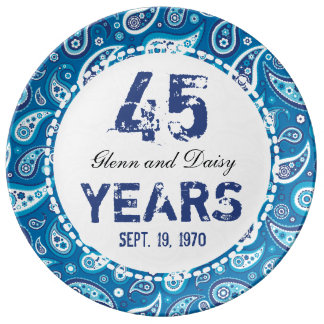 45th Sapphire Wedding Anniversary Paisley Pattern Porcelain Plates