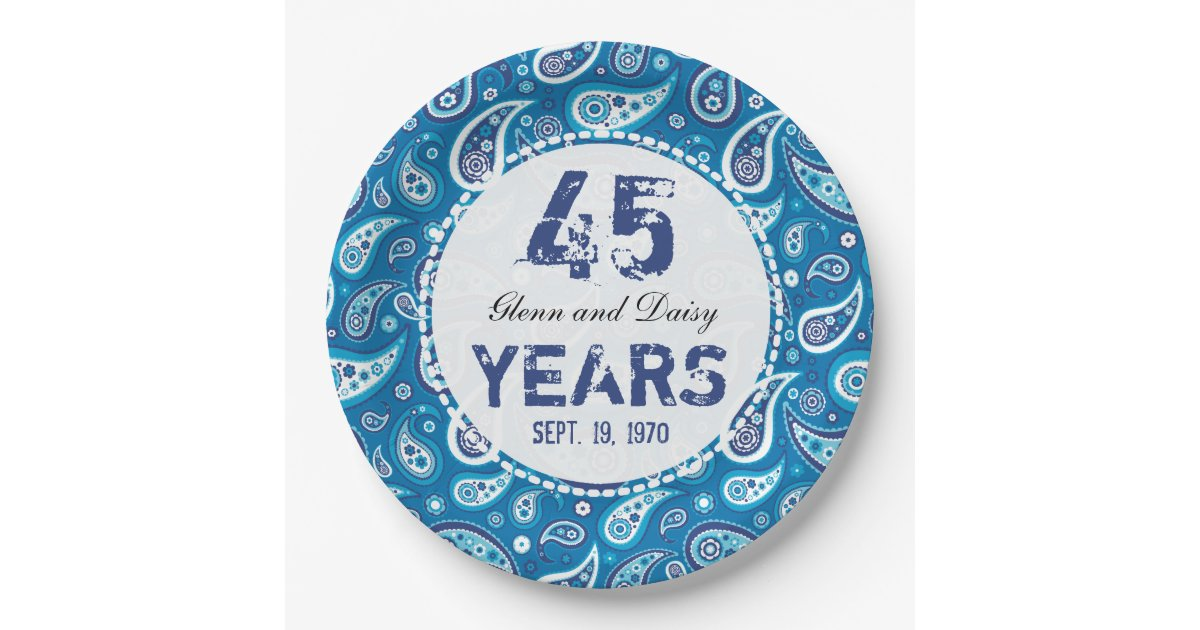 45th Sapphire Wedding Anniversary Paisley Pattern Paper Plate Zazzle