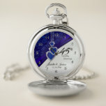 """45th Sapphire Wedding Anniversary Pocket Watch<br><div class=""""desc"""">⭐⭐⭐⭐⭐ 5 Star Review. Pocket Watch. 45th or 65th Sapphire Wedding Anniversary Design. ⭐This Product is 100% Customizable. Graphics and / or text can be added, deleted, moved, resized, changed around, rotated, etc... 99% of my designs in my store are done in layers. This makes it easy for you to...</div>"""