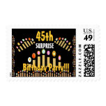 45th SURPRISE BIrthday Party - GOLD Candles Postage Stamps