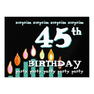 45th SURPRISE Birthday Teal Candles Card