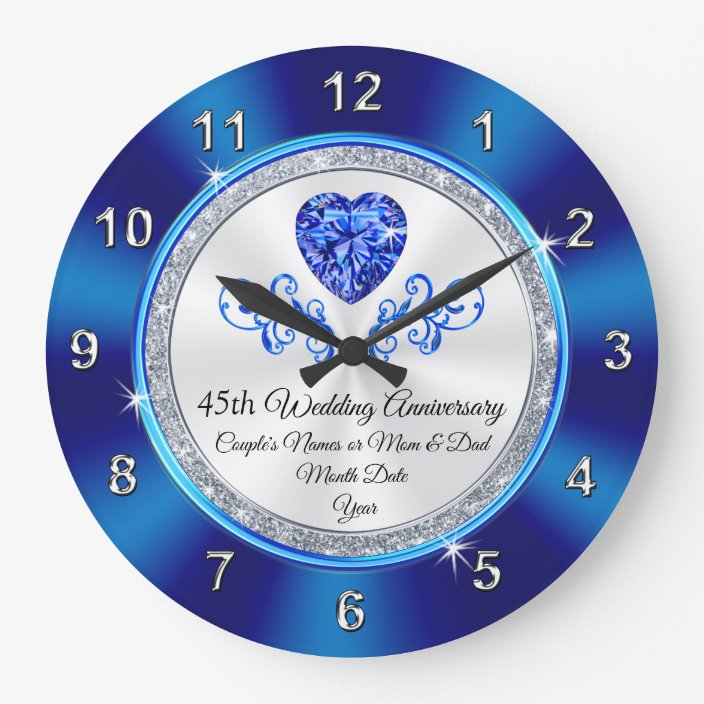 45th Wedding Anniversary Gift Ideas For Parents Large Clock Zazzle Com