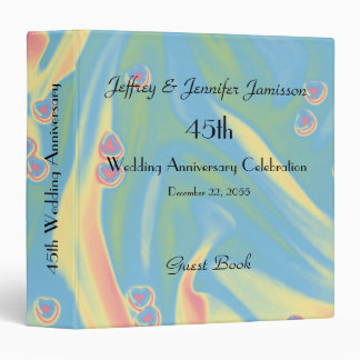 45th Wedding Anniversary Guest Book, Pastel Hearts 3 Ring Binder