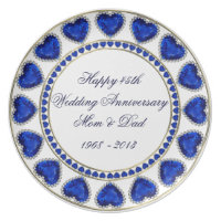 45th Wedding Anniversary Melamine Plate