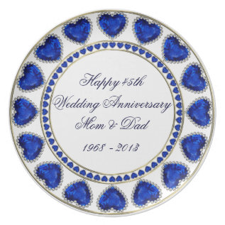 45th Wedding Anniversary Melamine Plate at Zazzle