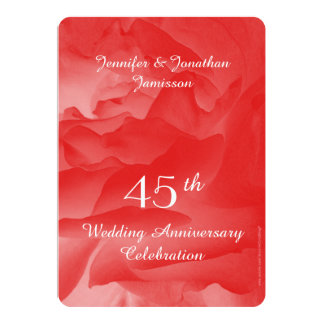 45th Wedding Anniversary Party Invitation, Rose Card