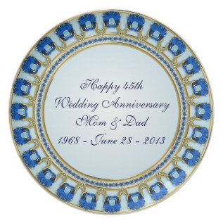 45th Wedding Anniversary Plate at Zazzle