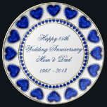 """45th Wedding Anniversary Porcelain Plate<br><div class=""""desc"""">A Digitalbcon Images Design featuring a Blue Sapphire and Gold color theme with a variety of custom images, shapes, patterns and styles in this one-of-a-kind &quot;Sapphire Wedding Anniversary&quot; Porcelain Plate. This colorful and elegant design comes complete with customizable text lettering to suit your own special occasion and makes the perfect...</div>"""